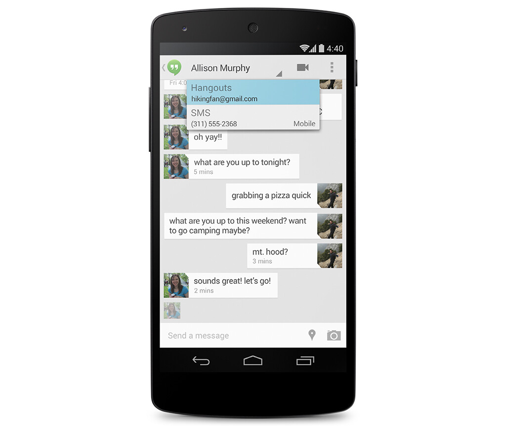 Hangouts and messaging integration