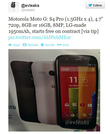 Tweet says Motorola Moto G will be free on contract - Motorola Moto G specs leak; phone will be free on contract?