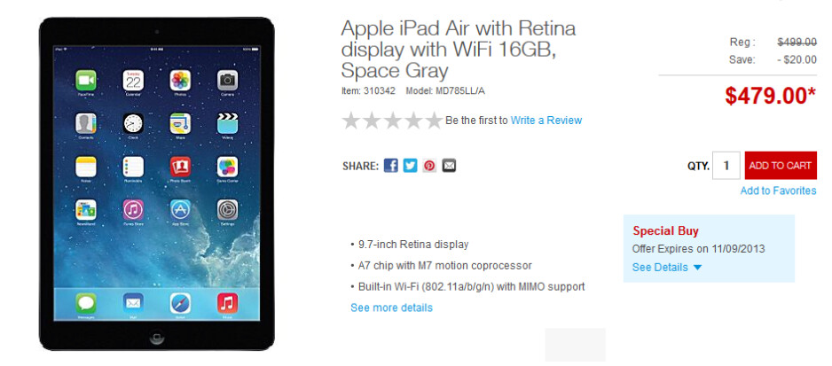 Staples will match Walmart's $479 price for the Apple iPad Air - Apple and Best Buy will price match Walmart on the Apple iPad Air in their physical stores