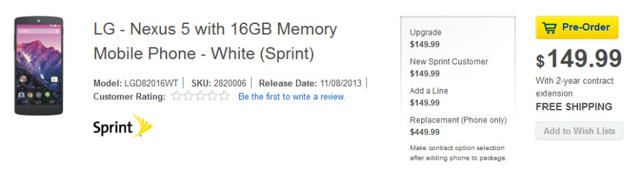 Pre-order the 16GB Sprint Nexus 5 from Best Buy - Pre-order the Sprint Nexus 5 from Best Buy now; phone will launch this Friday