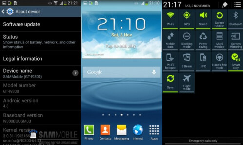 Screenshots from leaked Android 4.3 update for the Samsung Galaxy S III
