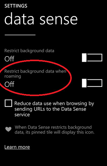 Data Sense can now restrict background data when roaming