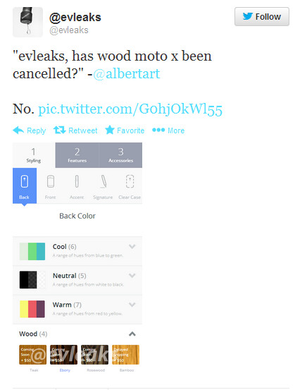 Tweet from @evleaks says that the wooden backs are coming to the Motorola Moto X