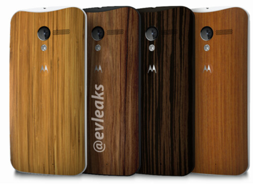 The Motorola Moto X with the four wood backs