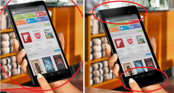 Original picture (L) showed the tablet called the Nexus 8, which was changed to the Nexus 7 (2013) at right