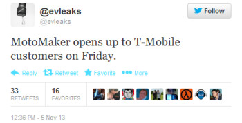 Tweet from evleaks says T-Mobile customer will get to use the Moto Maker starting this Friday