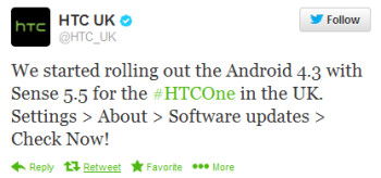 The HTC One in the U.K. is receiving Android 4.3 and Sense 5.5