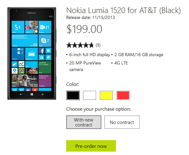 The Nokia Lumia 1520 will launch via AT&T on November 15th for $199 on contract - Nokia Lumia 1520 gets November 15th release date on AT&T; phablet is $199 on contract