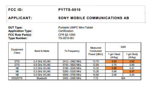 Possibly a Wi-Fi-only model of the Sony Xperia Z Ultra