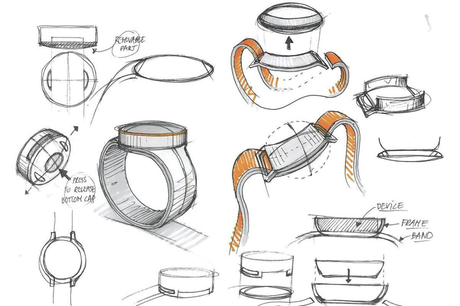 Early sketches of OnePlus Watch design, reportedly discarded in 2016