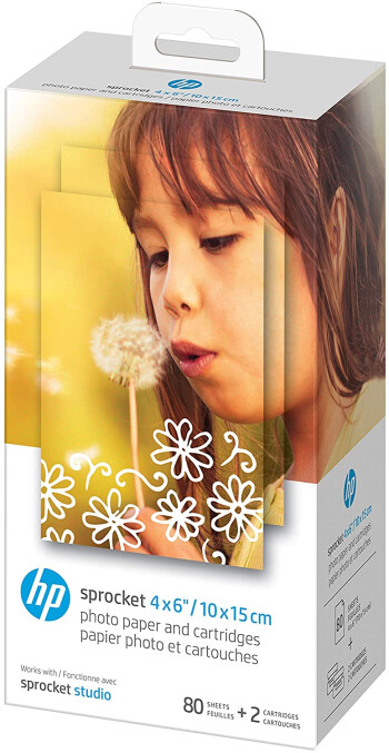 "HP Sprocket Studio 4x6"" Photo Paper & Cartridges (80 Sheets + 2 Cartridges)"
