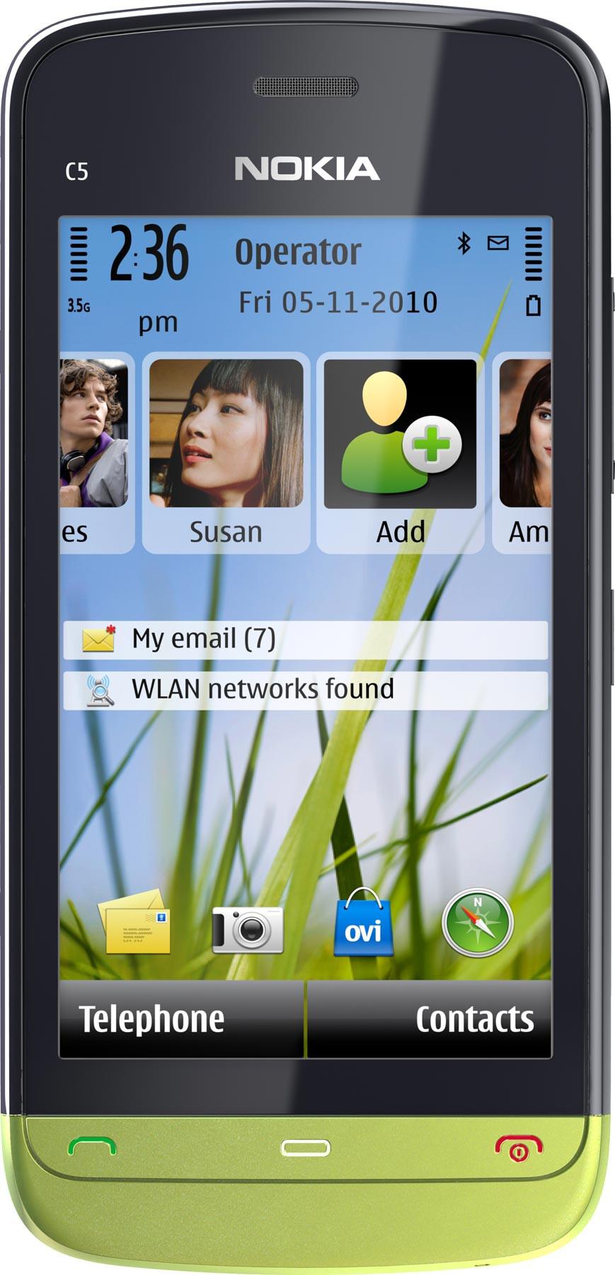 Nokia C5-06 vs Samsung Galaxy Axiom - Visual phone size