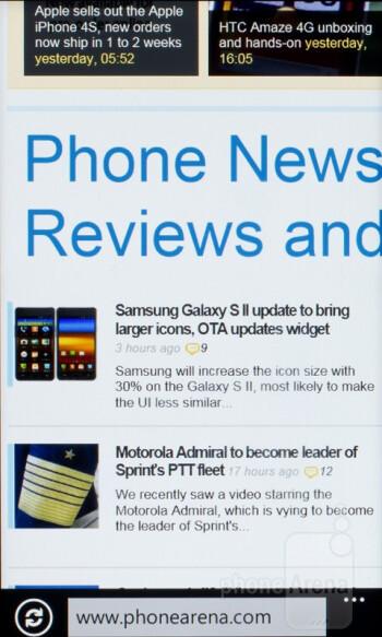 Browsing the web with HTC Radar - HTC Radar Review