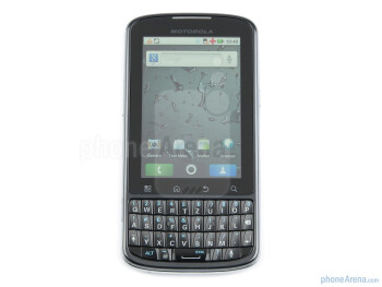 Between the display and the portrait QWERTY keyboard is the row of capacitive Android buttons - Motorola PRO Review