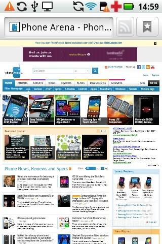 The stock internet browser on the Motorola PRO - Motorola PRO Review
