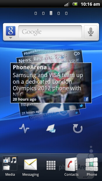 The Sony Ericsson Xperia arc S sports the Timescape Android overlay - Sony Ericsson has dressed up Gingerbread in nice gradient colors - Sony Ericsson Xperia arc S Review