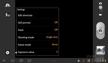 Camera interface - Samsung Galaxy Tab 7.0 Plus Preview