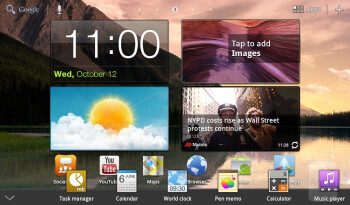 """The """"Mini Apps"""" tray - The Samsung Galaxy Tab 7.0 Plus has TouchWiz UX user interface on top of Honeycomb - Samsung Galaxy Tab 7.0 Plus Preview"""