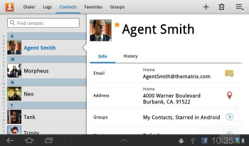 Contacts - Samsung Galaxy Tab 7.0 Plus Preview