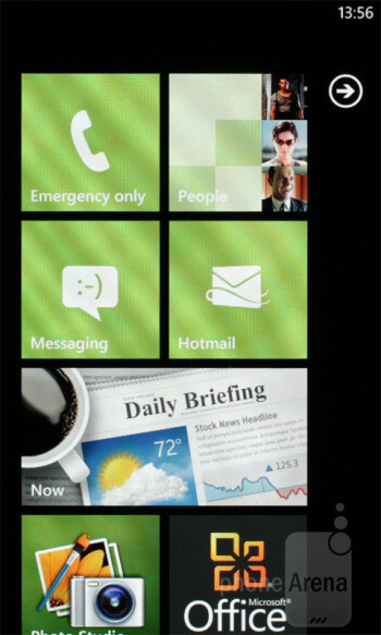 The interface of the Samsung Omnia W - Samsung Omnia W Preview