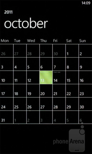 Calendar - Samsung Omnia W Preview
