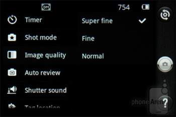 Camera interface - LG Enlighten Review