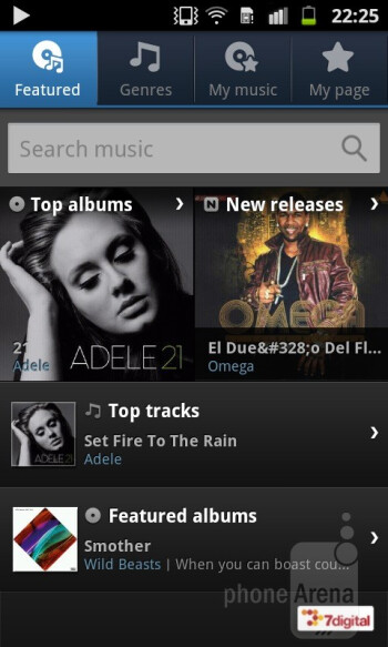 The music player interface as found on the Samsung Galaxy R - Samsung Galaxy R Review