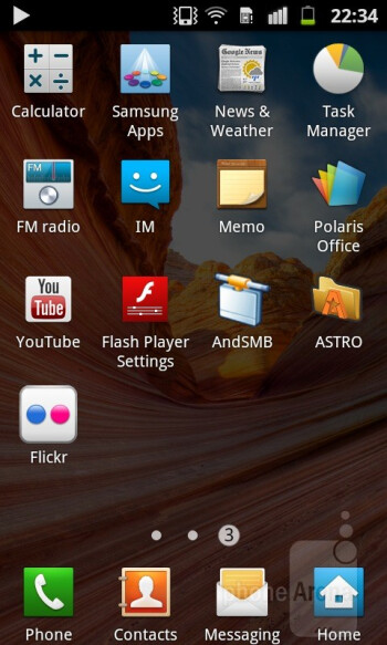 The Samsung Galaxy R has Andorid 2.3.4 beautified by the TouchWis 4.0 user interface - Samsung Galaxy R Review