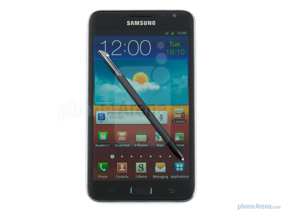 The special capacitive stylus is positioned at the bottom of the device - Samsung GALAXY Note Preview