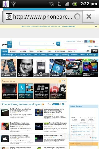 Android browser - Sony Ericsson Xperia active Review