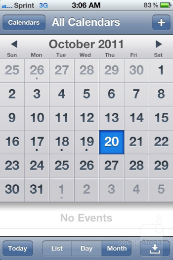 Calendar - Apple iPhone 4S - Samsung Galaxy Note LTE vs Apple iPhone 4S