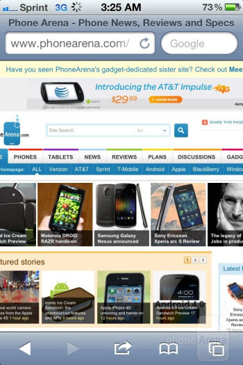 Web  browsing on the Apple iPhone 4S - Nokia Lumia 900 vs Apple iPhone 4S