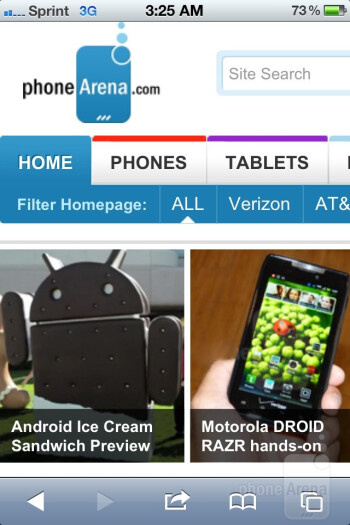Web  browsing on the Apple iPhone 4S - HTC One X vs Apple iPhone 4S