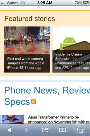 Web  browsing on the Apple iPhone 4S - Samsung Galaxy Note LTE vs Apple iPhone 4S