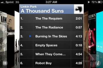 Music player interface of the Apple iPhone 4S - HTC One X vs Apple iPhone 4S