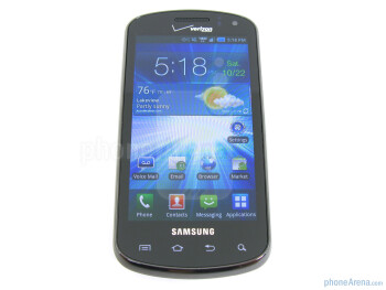 "On the front of the Samsung Stratosphere  is a 4"" WVGA Super AMOLED display - Samsung Stratosphere Review"