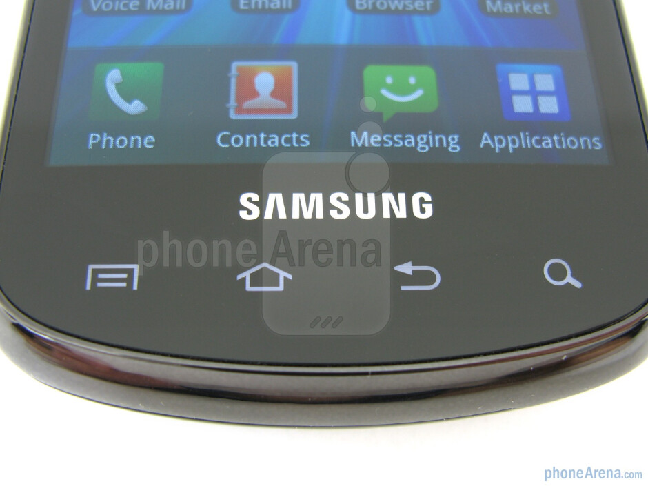 """Touch-sensitive control buttons - On the front of the Samsung Stratosphere  is a 4"""" WVGA Super AMOLED display - Samsung Stratosphere Review"""
