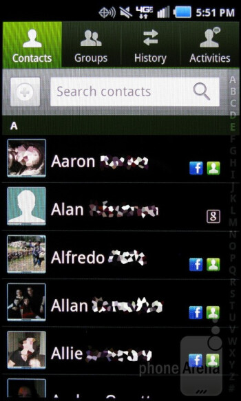 The Android 2.3 phonebook groups all of your phone, Google, and Facebook contacts into one scrolling list - Samsung Stratosphere Review