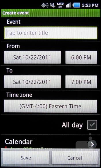 Calendar - Samsung Stratosphere Review