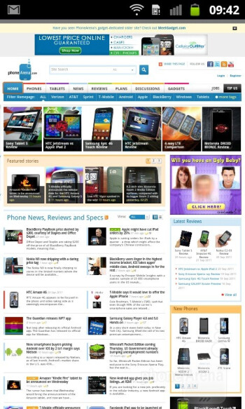 Web browser - Samsung GALAXY W Review