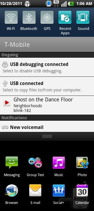 In the notifications - Music player - LG DoublePlay Review