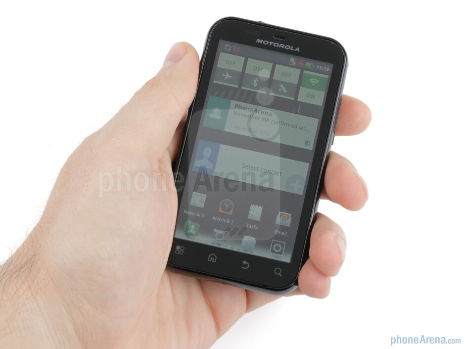 The DEFY+ isn't very thin, but it fits nicely in the hand - Motorola DEFY+ Review