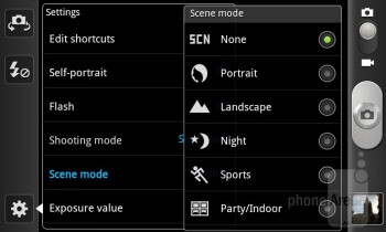 Camera interface - Samsung Exhibit II 4G Review