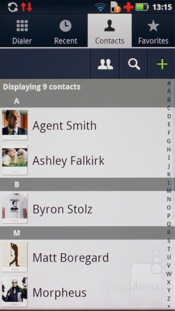 Phonebook - Motorola has also placed its marked on some of the core apps - Motorola DEFY+ Review