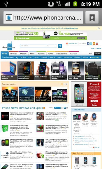 Web browsing with the Samsung Exhibit II 4G - Samsung Exhibit II 4G Review