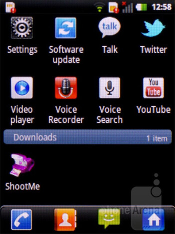 The main menu is scrollable downwards by default - LG Optimus Pro Review