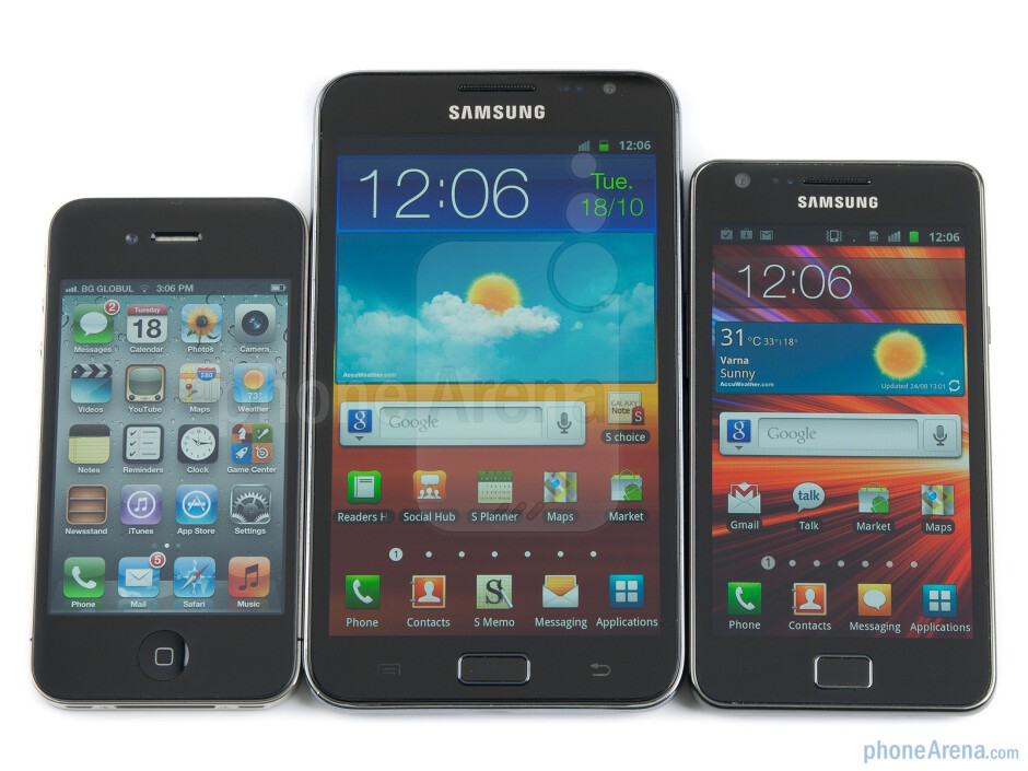 Apple iPhone 4 (left, top), Samsung GALAXY Note (center, bottom), Samsung Galaxy S II (right, middle) - Samsung GALAXY Note Review