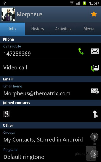 The Contacts app - Samsung GALAXY Note Review