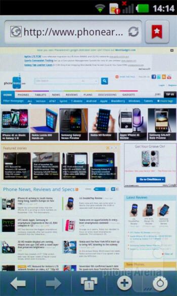 Internet browser - LG Optimus Sol Preview