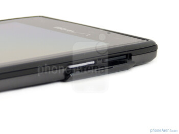 microSIM card slot and microSD card slot on the left - Motorola DROID RAZR Review